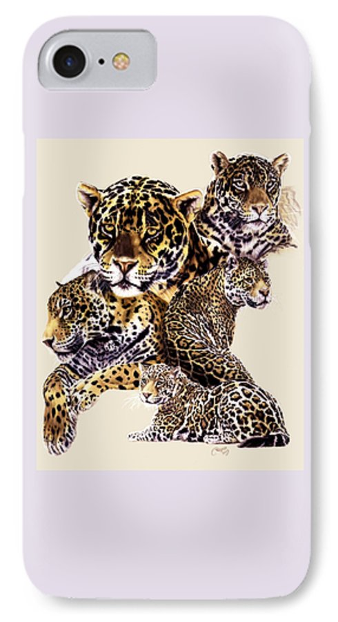 Jaguar IPhone 7 Case featuring the drawing Burn by Barbara Keith