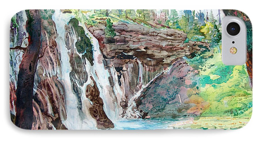 Watercolor IPhone 7 Case featuring the painting Burney Falls by John Norman Stewart