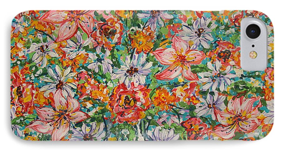 Flowers IPhone 7 Case featuring the painting Burst Of Flowers by Leonard Holland