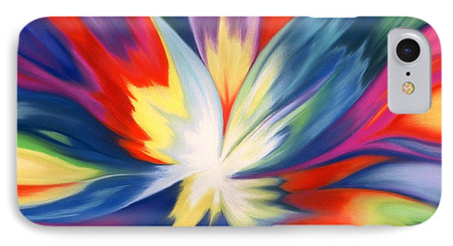 Abstract IPhone 7 Case featuring the painting Burst Of Joy by Lucy Arnold