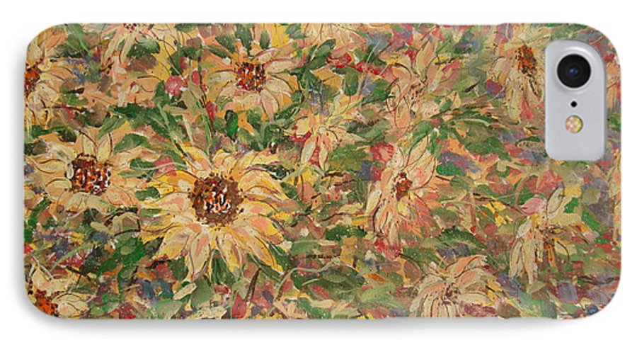 Flowers IPhone 7 Case featuring the painting Burst Of Sunflowers. by Leonard Holland