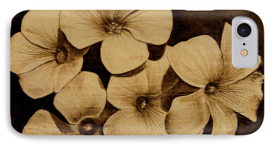 Pyrography; Sepia; Flower; Petals; Boquet; Pansy; Violet; IPhone 7 Case featuring the pyrography Bursting by Jo Schwartz