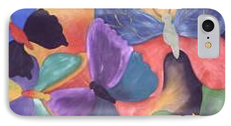Butterfly Painting With Focus On Colors IPhone 7 Case featuring the painting Butterfly Painting by M Brandl