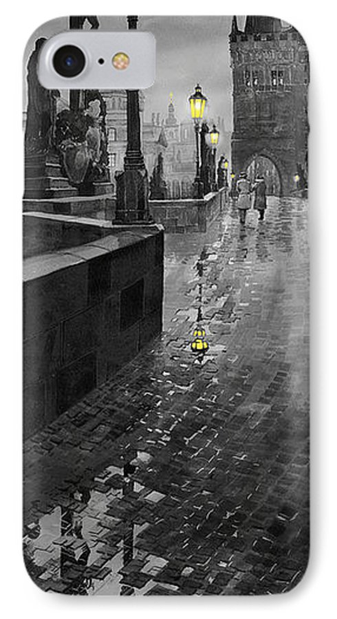 Prague IPhone 7 Case featuring the painting Bw Prague Charles Bridge 01 by Yuriy Shevchuk