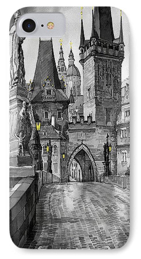 Prague IPhone 7 Case featuring the painting Bw Prague Charles Bridge 02 by Yuriy Shevchuk