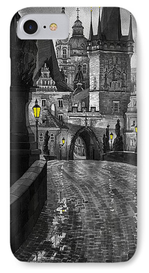 Prague IPhone 7 Case featuring the painting Bw Prague Charles Bridge 03 by Yuriy Shevchuk