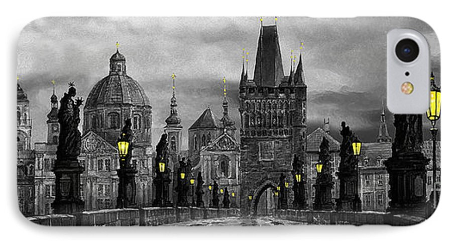 Prague IPhone 7 Case featuring the painting Bw Prague Charles Bridge 04 by Yuriy Shevchuk