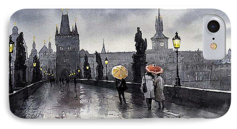 Prague IPhone 7 Case featuring the painting Bw Prague Charles Bridge 05 by Yuriy Shevchuk