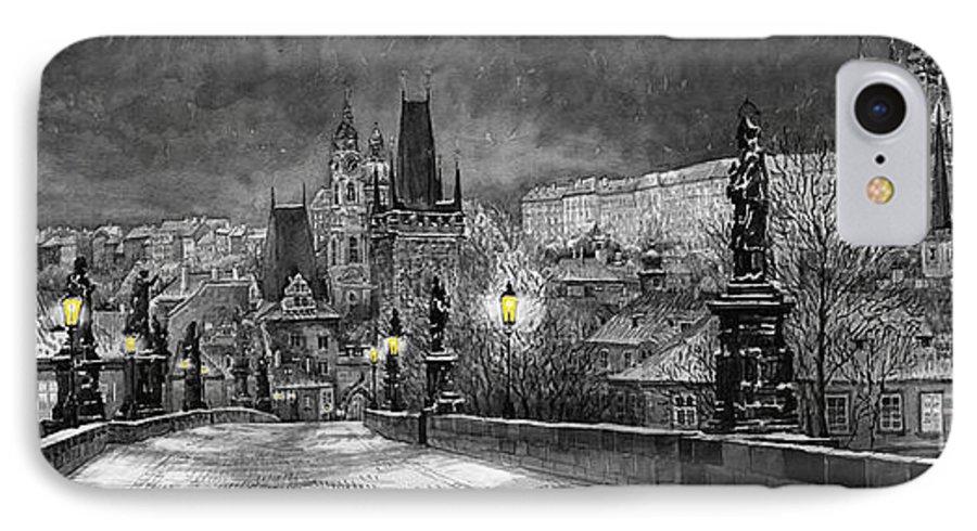 Prague IPhone 7 Case featuring the painting Bw Prague Charles Bridge 06 by Yuriy Shevchuk