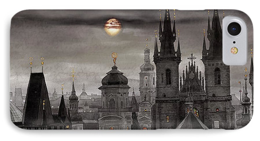 Cityscape IPhone 7 Case featuring the painting Bw Prague City Of Hundres Spiers by Yuriy Shevchuk