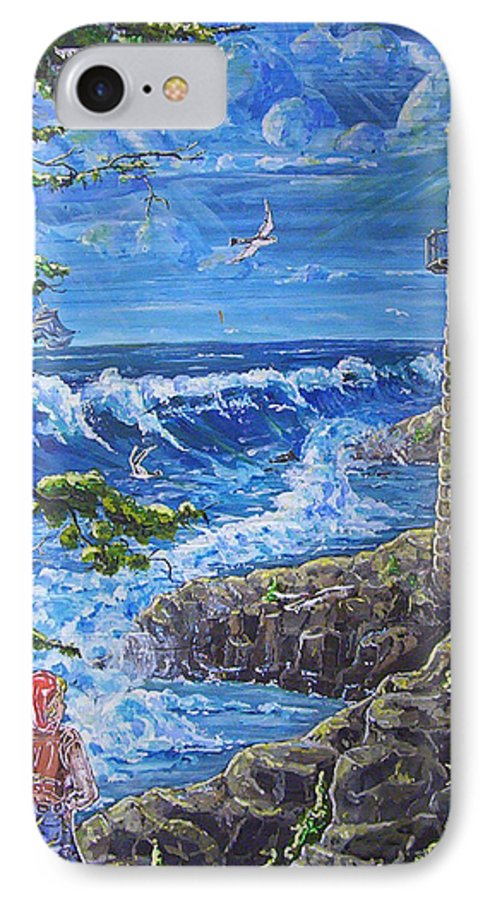 Seascape IPhone 7 Case featuring the painting By The Sea by Phyllis Mae Richardson Fisher