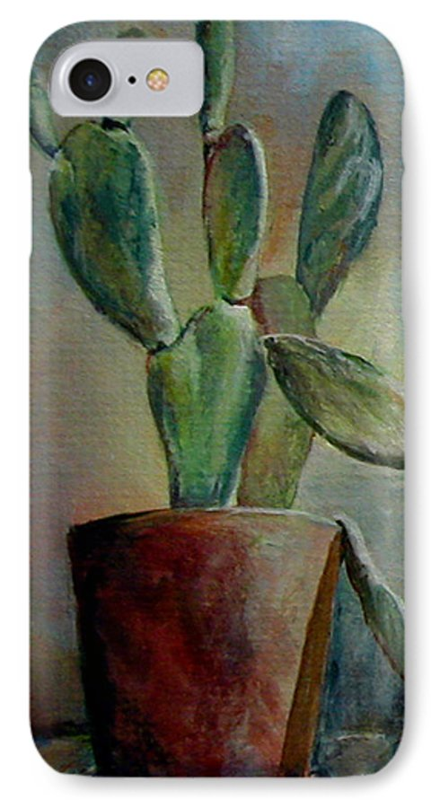 Flower IPhone 7 Case featuring the painting Cactus 1 by Muriel Dolemieux