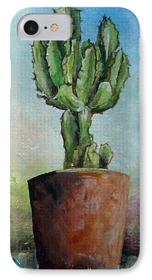 Flower IPhone 7 Case featuring the painting Cactus 3 by Muriel Dolemieux