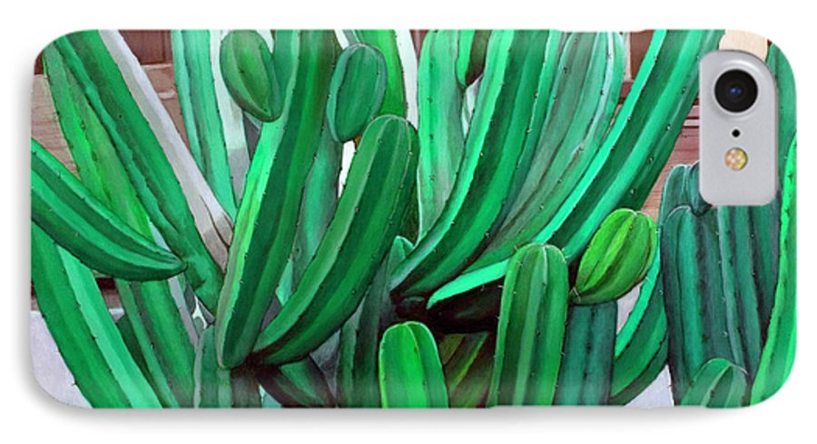 Landscape IPhone 7 Case featuring the painting Cactus Fly By by Snake Jagger