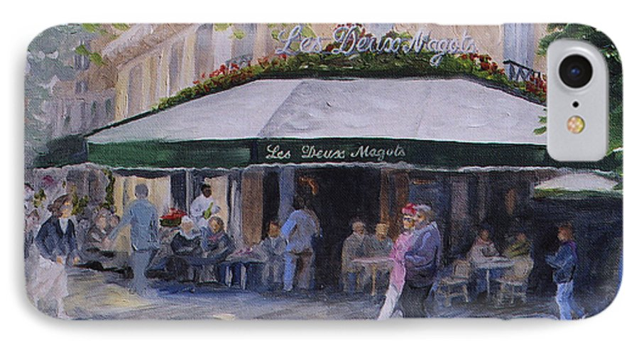 Cafe Magots IPhone 7 Case featuring the painting Cafe Magots by Jay Johnson