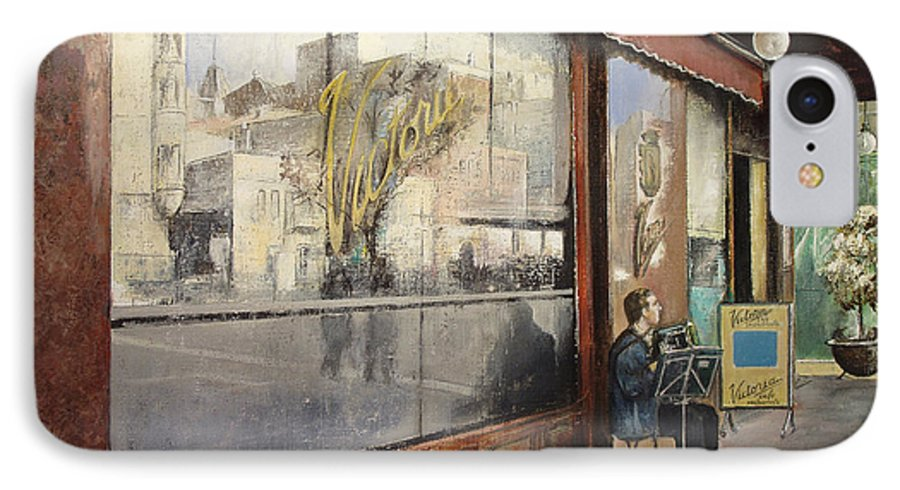 Cafe IPhone 7 Case featuring the painting Cafe Victoria by Tomas Castano
