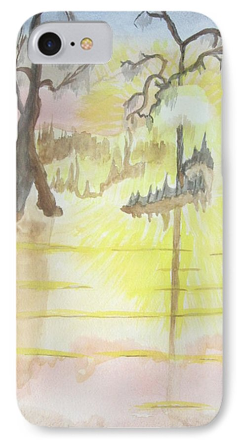 Landscape Watercolor IPhone 7 Case featuring the painting Cajun Sunrise by Warren Thompson