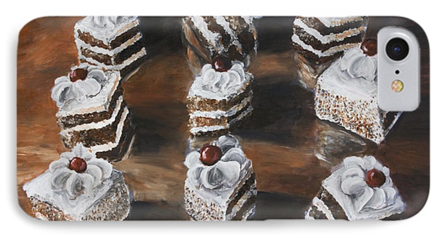 Cake IPhone 7 Case featuring the painting Cake by Nik Helbig