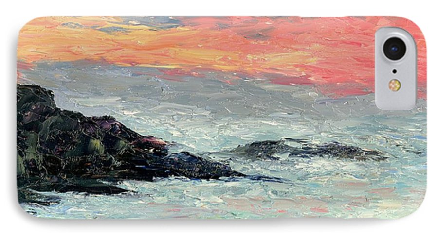 Seascape IPhone 7 Case featuring the painting California Coast by Gail Kirtz