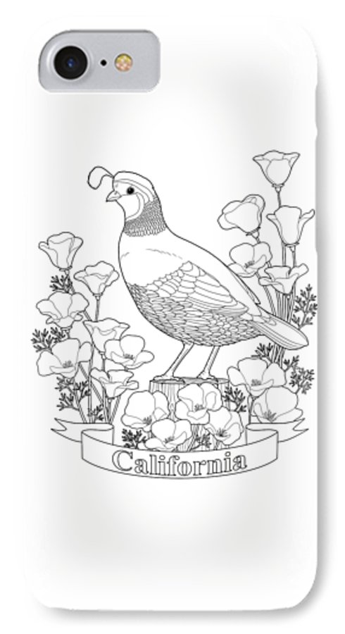 California State Bird And Flower Coloring Page Iphone 7 Case For