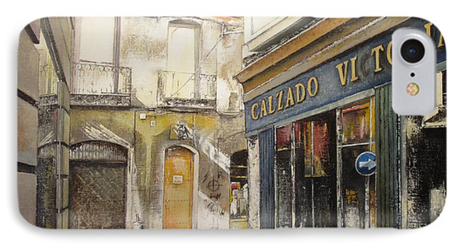 Calzados IPhone 7 Case featuring the painting Calzados Victoria-leon by Tomas Castano