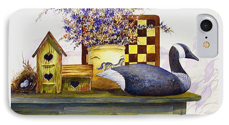 Canada Goose;birdhouse;bird Nest;crock;checkerboard;still Life;country Still Life; IPhone 7 Case featuring the painting Canada And Checkerboard by Lois Mountz