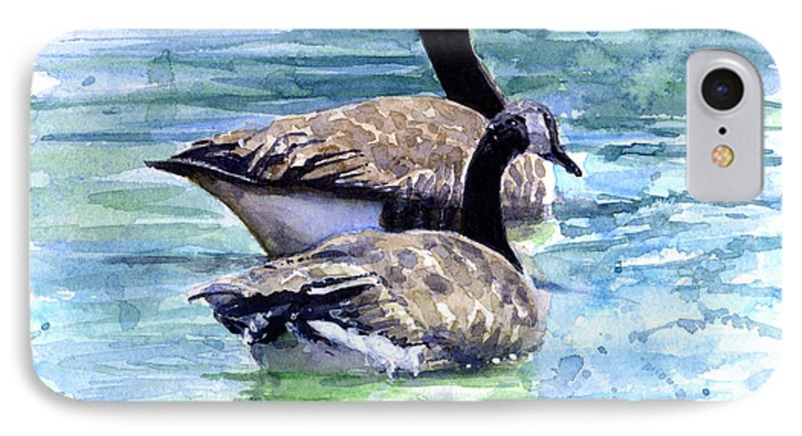 Canada IPhone 7 Case featuring the painting Canada Geese by John D Benson