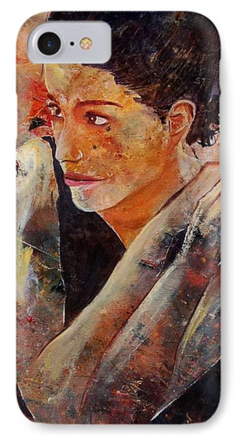 Figurative IPhone 7 Case featuring the painting Candid Eyes by Pol Ledent