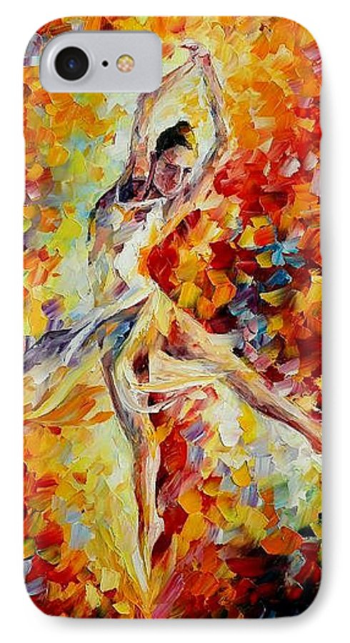 Danse IPhone 7 Case featuring the painting Candle Fire by Leonid Afremov