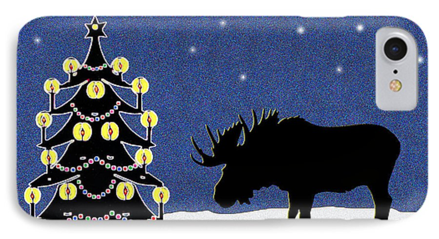 Moose IPhone 7 Case featuring the digital art Candlelit Christmas Tree And Moose In The Snow by Nancy Mueller