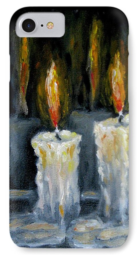 Candles IPhone 7 Case featuring the painting Candles Oil Painting by Natalja Picugina