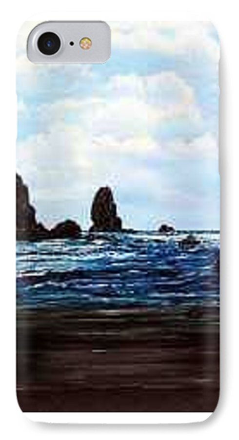 This Is Cannon Beach Oregon. This Painting Is Framed In A Lovely Gold Tone Frame. IPhone Case featuring the painting Cannon Beach by Darla Boljat