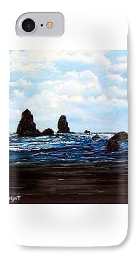 This Is Cannon Beach Oregon. This Painting Is Framed In A Lovely Gold Tone Frame. IPhone 7 Case featuring the painting Cannon Beach by Darla Boljat