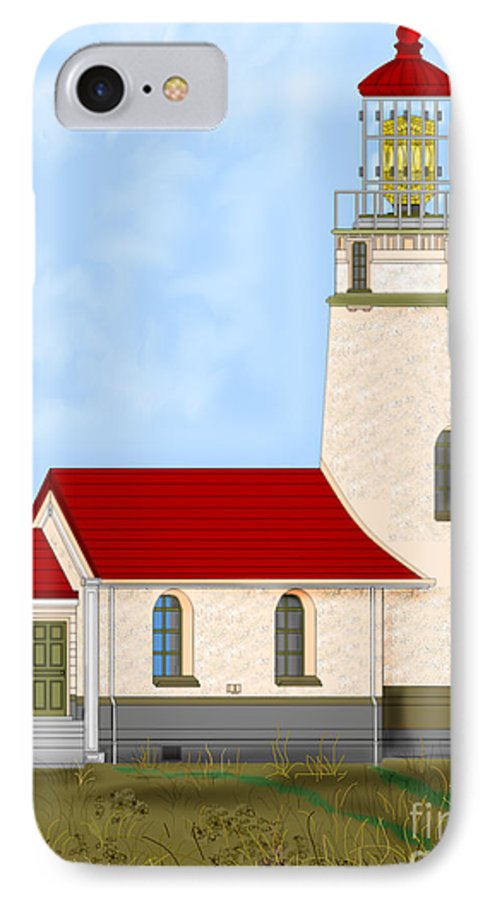 Lighthouse IPhone 7 Case featuring the painting Cape Blanco Oregon by Anne Norskog
