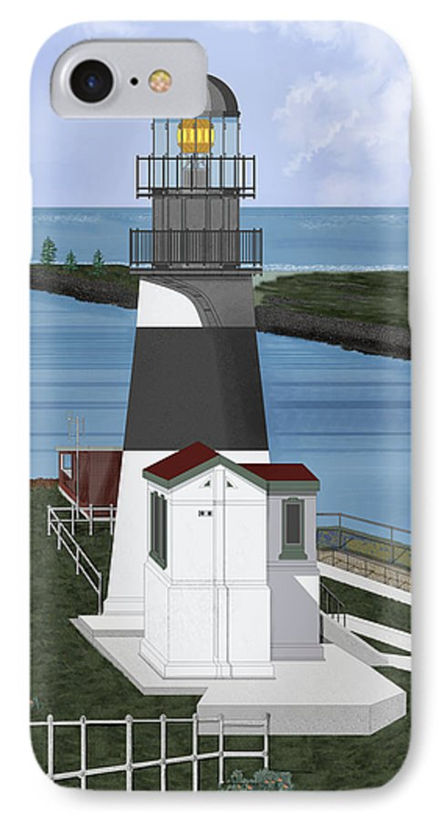 Lighthouse IPhone 7 Case featuring the painting Cape Disappointment At Fort Canby Washington by Anne Norskog