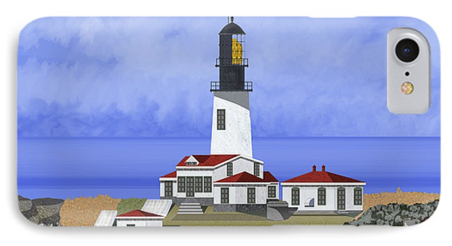 Seascape IPhone 7 Case featuring the painting Cape Flattery Lighthouse On Tatoosh Island by Anne Norskog