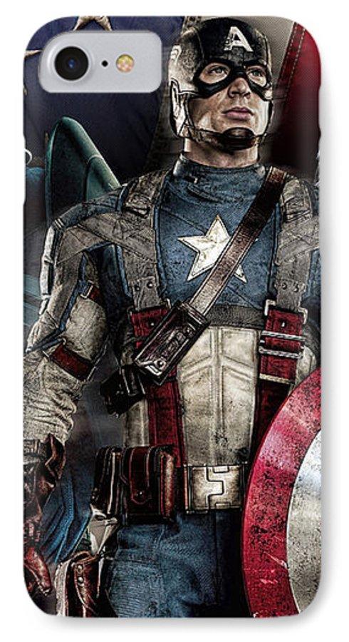 Captain America IPhone 7 Case featuring the digital art Captain America - America by Nicholas Legault