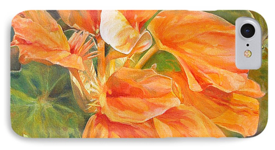 Floral Painting IPhone 7 Case featuring the painting Capucine by Muriel Dolemieux