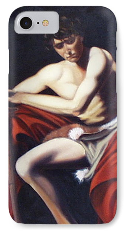Caravaggio IPhone 7 Case featuring the painting Caravaggio's John The Baptist Study by Toni Berry
