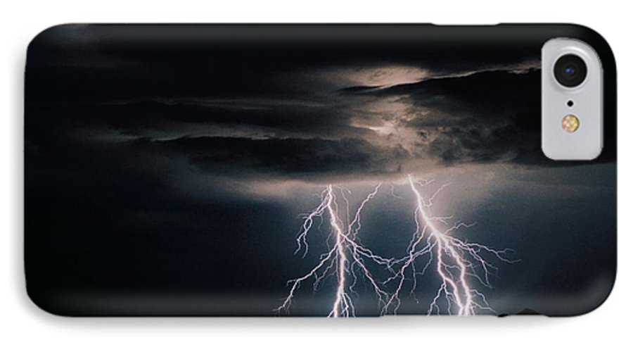 Arizona IPhone 7 Case featuring the photograph Carefree Lightning by Cathy Franklin