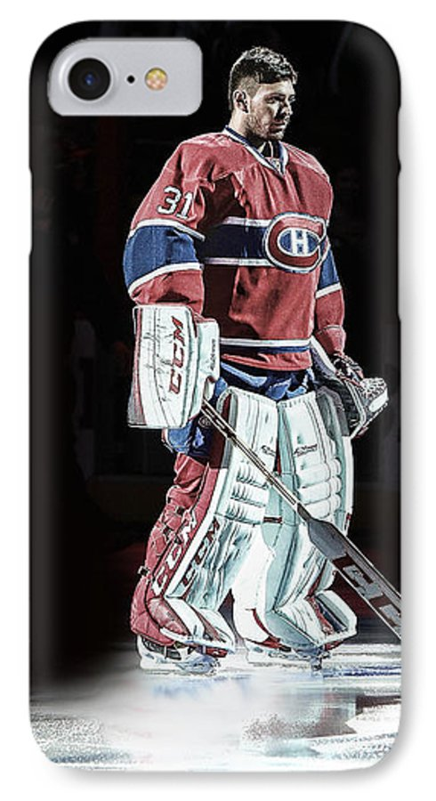Montreal Canadiens IPhone 7 Case featuring the digital art Carey Price Spotlight by Nicholas Legault