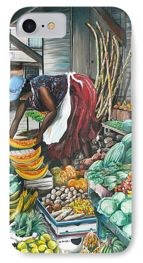 Caribbean Painting Market Vendor Painting Caribbean Market Painting Fruit Painting Vegetable Painting Woman Painting Tropical Painting City Scape Trinidad And Tobago Painting Typical Roadside Market Vendor In Trinidad IPhone 7 Case featuring the painting Caribbean Market Day by Karin Dawn Kelshall- Best