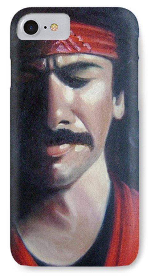 Santana IPhone 7 Case featuring the painting Carlos Santana by Toni Berry