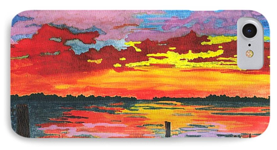 Original Painting IPhone 7 Case featuring the painting Carolina Sunset by Patricia Griffin Brett
