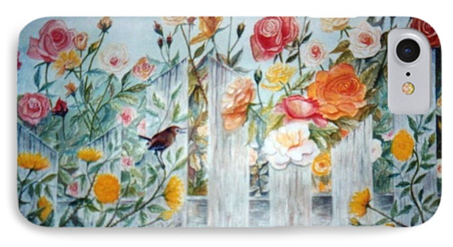 Roses; Flowers; Sc Wren IPhone 7 Case featuring the painting Carolina Wren And Roses by Ben Kiger