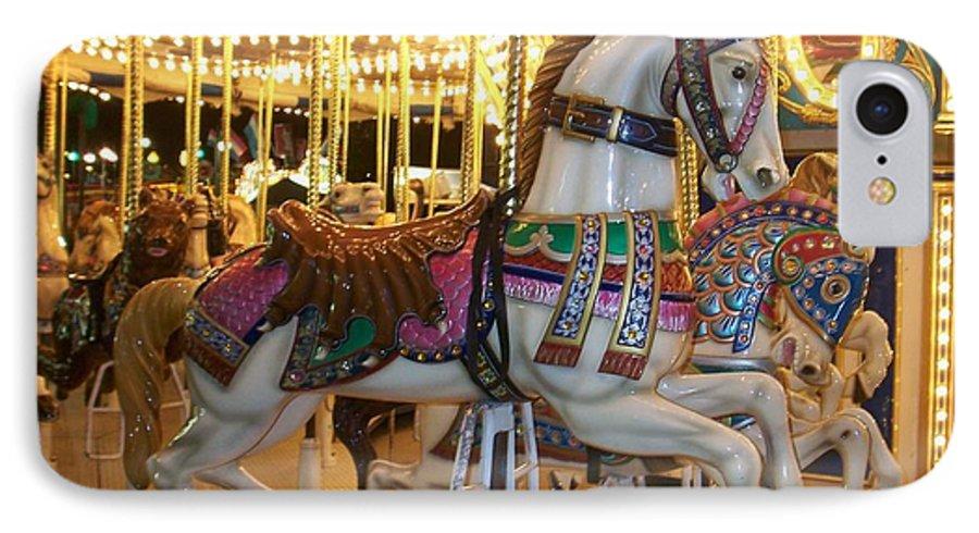 Carosel Horse IPhone 7 Case featuring the photograph Carosel Horse by Anita Burgermeister