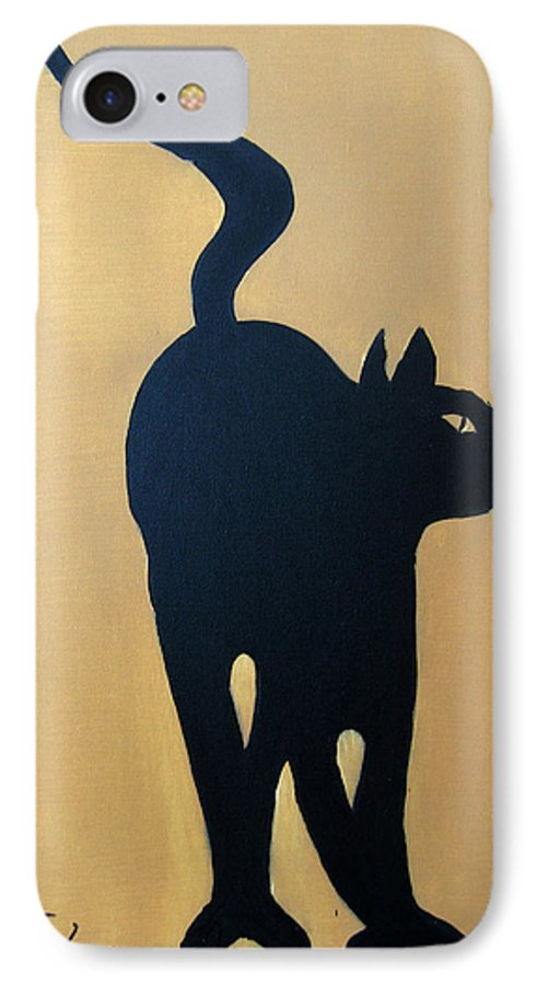 Cat IPhone 7 Case featuring the painting Cat Dance..... Optical Illusion by Patrick Trotter