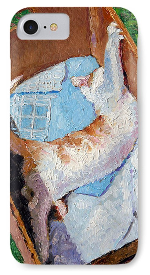 Kitten IPhone 7 Case featuring the painting Cat In A Box by John Lautermilch