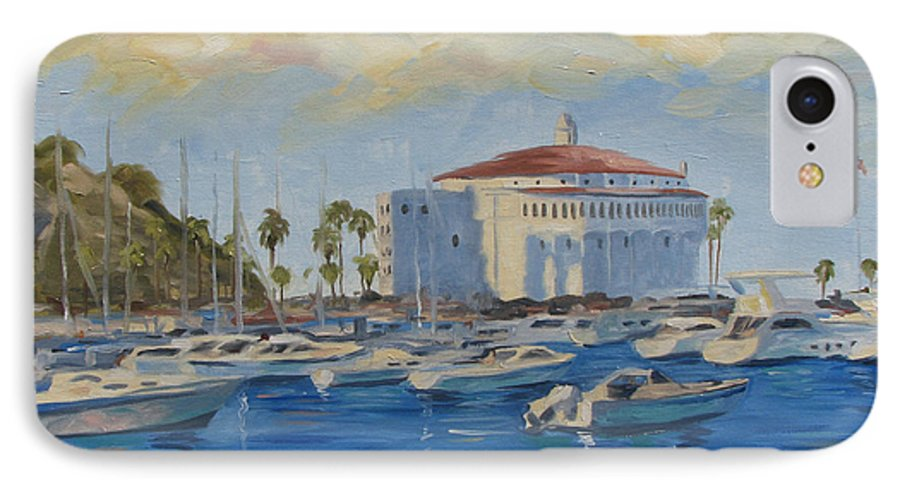 California IPhone 7 Case featuring the painting Catallina Casino by Jay Johnson