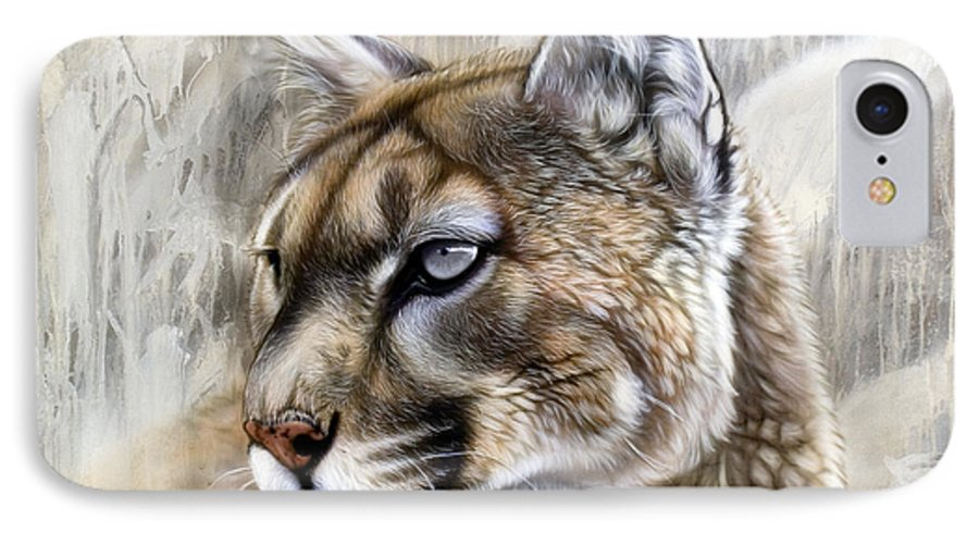 Acrylic IPhone 7 Case featuring the painting Catamount by Sandi Baker
